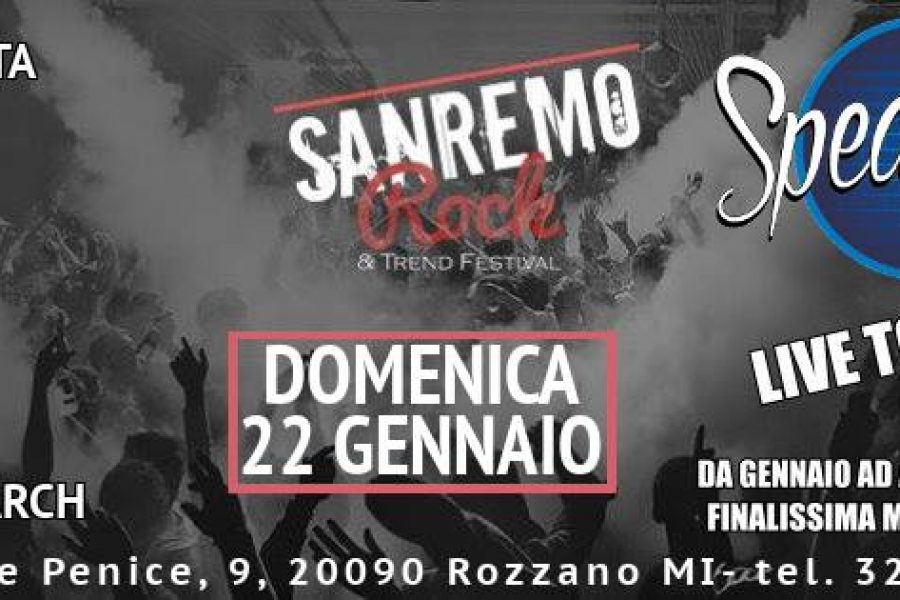 Sanremo rock live tour – Dom.22Gen.2017 Speak Easy – Rozzano – MI –