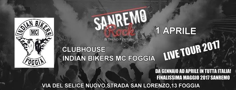 Sabato 1° Aprile Sanremo Rock approda nella Regione Puglia all'Indian Bikers!!