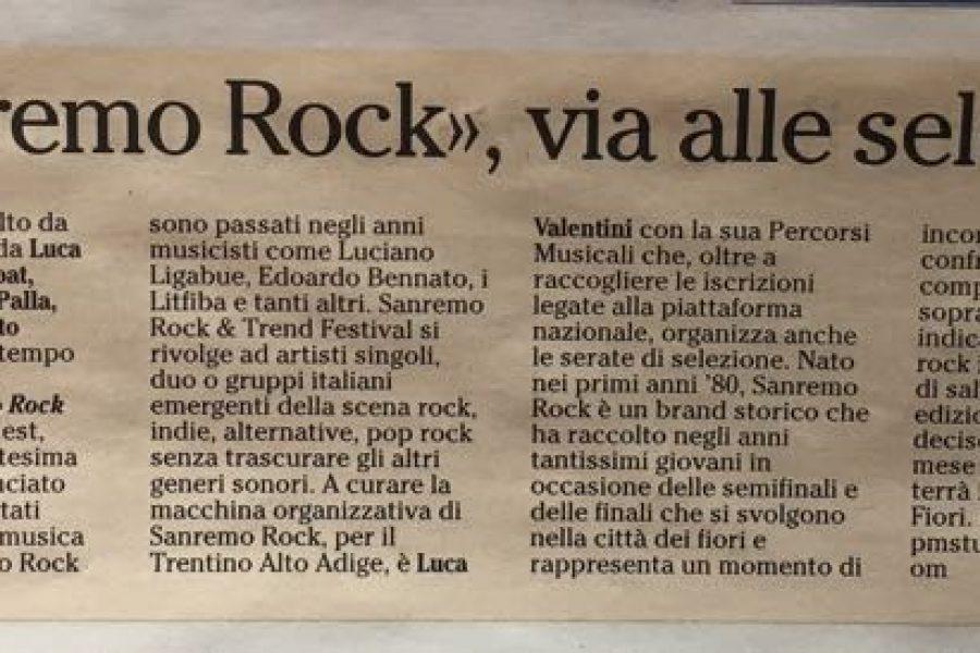 Sanremo Rock Audizioni Trentino Alto Adige Sabato 4 Marzo 2017 La Rupe disco Pub..
