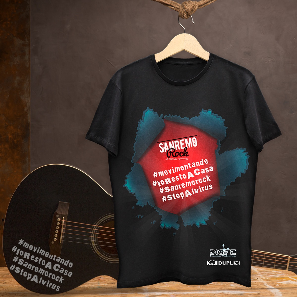 T Shirt Sanremo Rock Dupplici per #Movimentando #IoRestoACasa