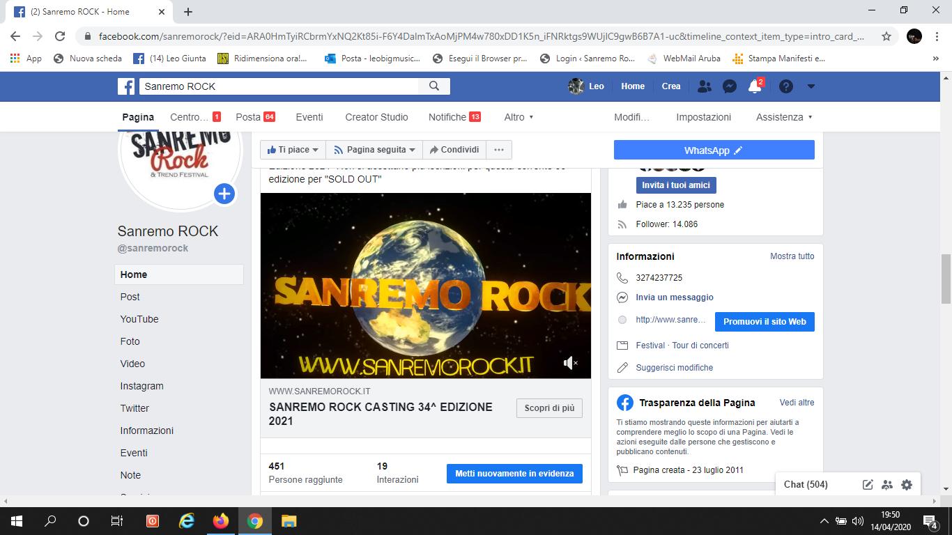 Da oggi si aprono i casting della 34^ edizione 2020/21 del Sanremo Rock!
