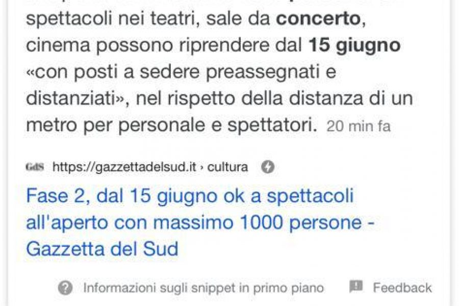 NUOVO DPCM DAL 15 GIUGNO OK A SPETTACOLI MUSICALI!