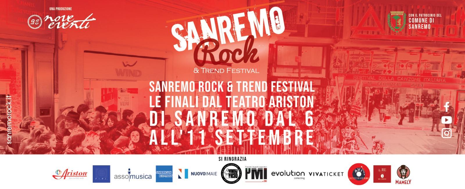 Sanremo Rock & Trend Festival Teatro Ariston dal 6 all'11 Settembre Sanremo.